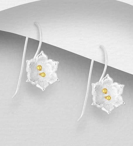 925 Sterling Silver Flower Hook Earrings, with 18K Yellow Gold
