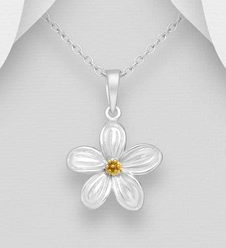 925 Sterling Silver Flower Pendant and Chain, with18K Yellow Gold