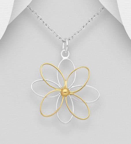 925 Sterling Silver Flower Pendant, Center Plated with 18ct Gold