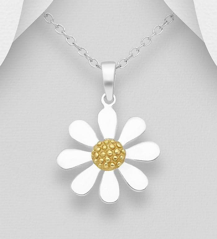 925 Sterling Silver Flower Pendant & Chain, with 18ct Gold