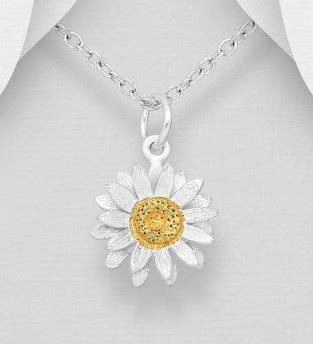 925 Sterling Silver Flower Pendant & Chain, with 18ct Yellow Gold