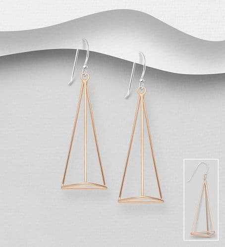 925 Sterling Silver Geometric Drop Earrings,  With 18K Pink Gold