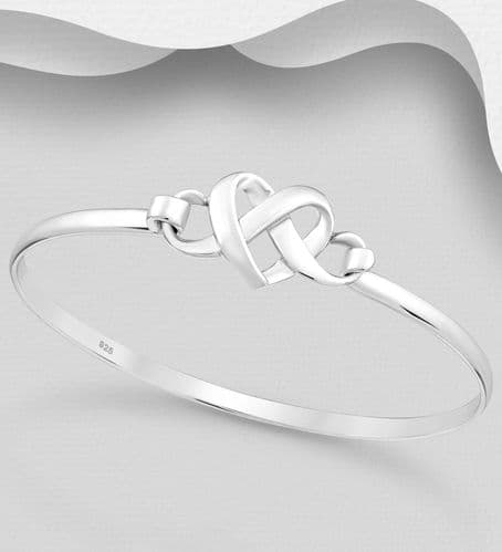 925 Sterling Silver Hand Crafted Double Entwined Heart Bangle That Opens