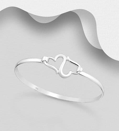 925 Sterling Silver Hand Crafted Double Heart Bangle That Opens