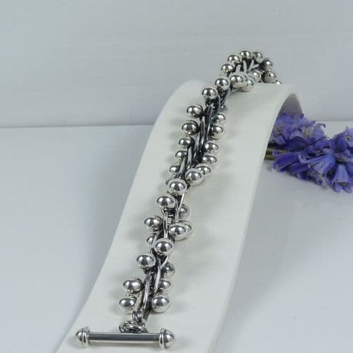925 Sterling Silver Hand Crafted Non Graduating Popcorn Bracelet With T Bar Clasp