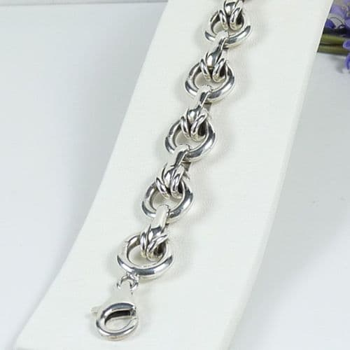 925 Sterling Silver Hand Crafted Solid Links Of London Style Bracelet With Trigger Clasp.
