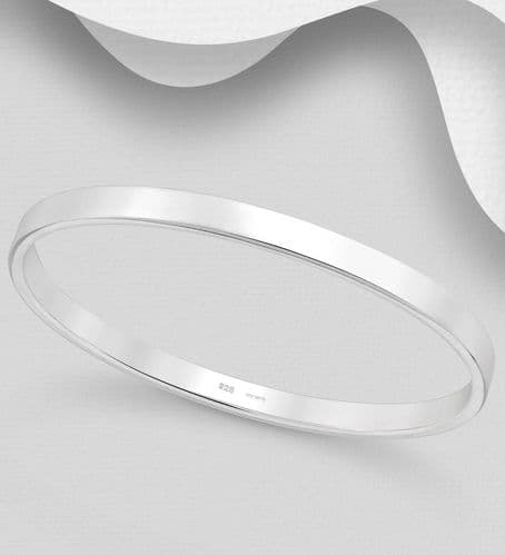 925 Sterling Silver Hand Crafted Solid Oval Bangle