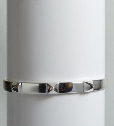 925 Sterling Silver Hand Crafted  Solid Pyramid, Designer Inspired  Cuff Bangle