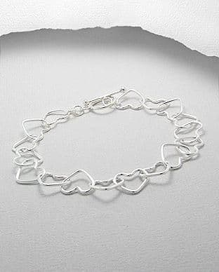 925 Sterling Silver Heart Bracelet - With T Bar Clasp