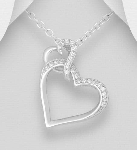 925 Sterling Silver Heart Links Pendant Decorated with CZ Simulated Diamonds