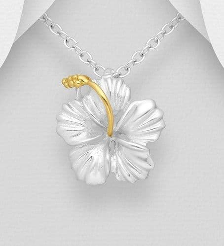 925 Sterling Silver Hibiscus Pendant, Pollen with 18ct Yellow Gold