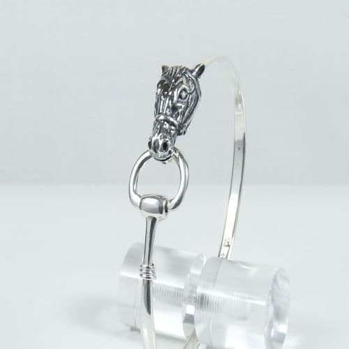 925 Sterling Silver Horses Head Bangle That Opens