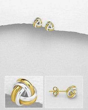 925 Sterling Silver Knot Stud Earrings, Plated with 18K Yellow Gold