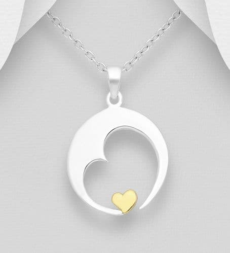 925 Sterling Silver Moon & Heart Pendant & Chain, With 18ct Yellow Gold