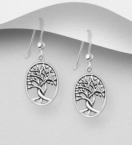 925 Sterling Silver Oxidised Oval Tree of Life Drop Earrings