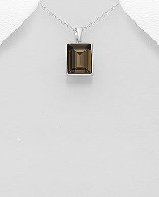 925 Sterling Silver Pendant & Chain Decorated With A Smoky Quarts Swarovski Crystal