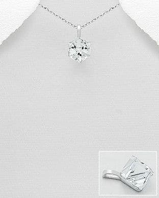 925 Sterling Silver Pendant & Chain Decorated with Authentic Clear Swarovski Crystal