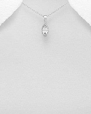 925 Sterling Silver Pendant & Chain Decorated with   Swarovski  Marques Cut  Crystal