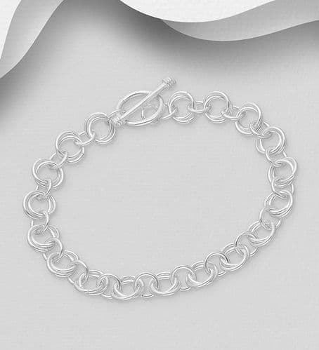 925 Sterling Silver Round double & Single Link Bracelet