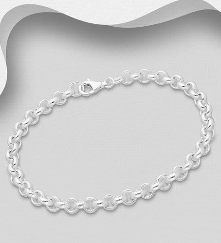 925 Sterling Silver Round Link Belcher Chain Bracelet