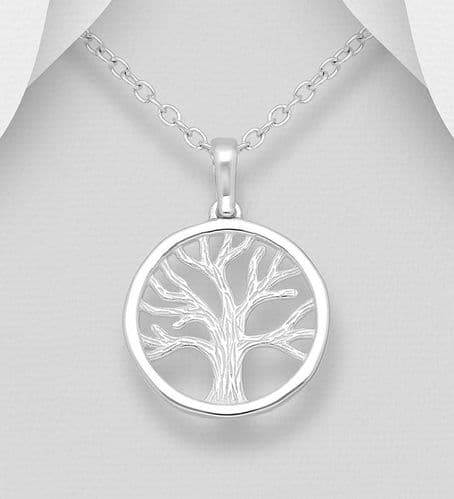 925 Sterling Silver Round Open Work Tree Of Life Pendant & Chain