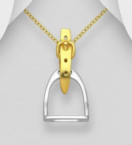 925 Sterling Silver Sold Hand  Stirrup Pendant & Chain, Belt Plated with 18K Yellow Gold