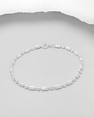 925 Sterling Silver Solid Bar & Ball Fancy Link Bracelet