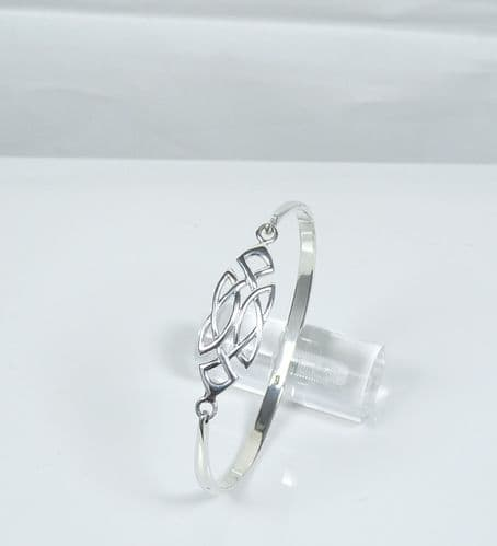 925 Sterling Silver Solid Celtic Design Bangle That Opens