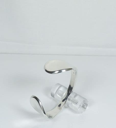 925 Sterling Silver Solid Contemporary Polished Cuff Bangle