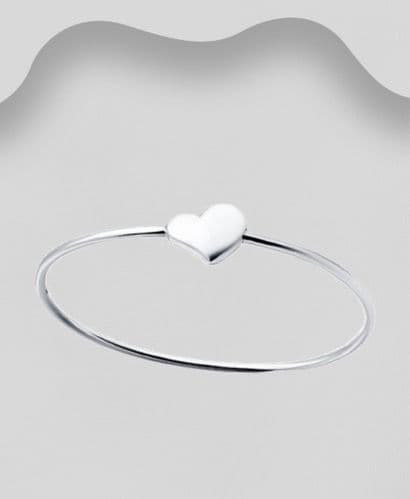925 Sterling Silver Solid  Georg Jenson Style Heart Bangle That Opens