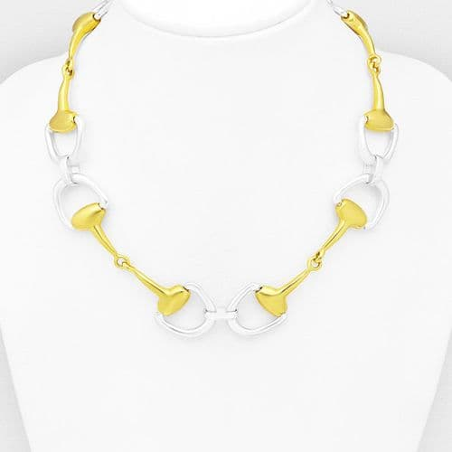 925 Sterling Silver, Solid Hand Crafted Horse Snaffle Necklace with 18ct Yellow