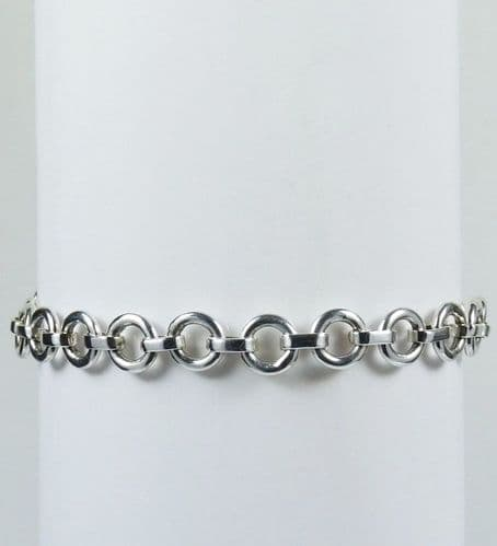 925 Sterling Silver Solid Hand  Crafted  Round Link  Bracelet