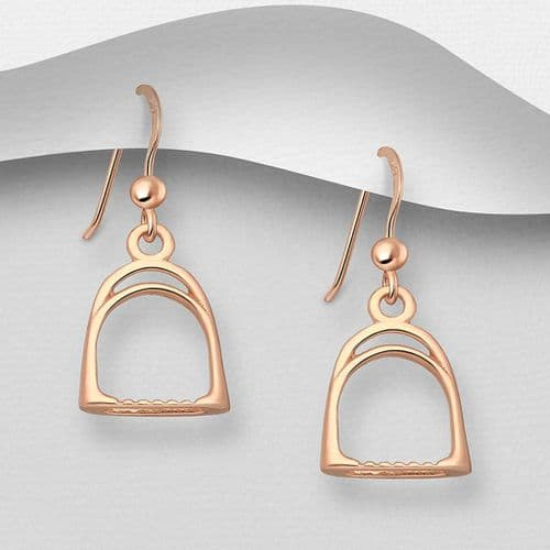 925 Sterling Silver Solid Hand Crafted Stirrup Drop Earrings. With 18ct Pink Gold
