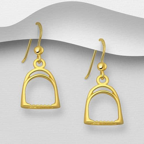 925 Sterling Silver Solid Hand Crafted Stirrup Drop Earrings. With 18ct  Yellow Gold