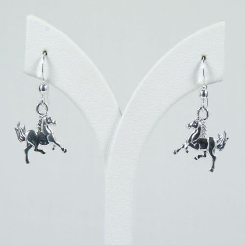 925 Sterling Silver Solid Hand Crafted Trotting Horse Drop Earrings.