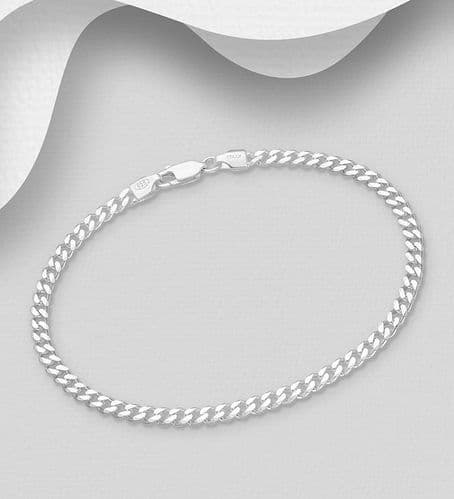 925 Sterling Silver Solid Heavier Weight Flat Curb Bracelet  - Three  Different Length's and Weights