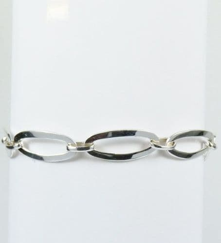 925 Sterling Silver Solid Long Oval  Shape Bracelet