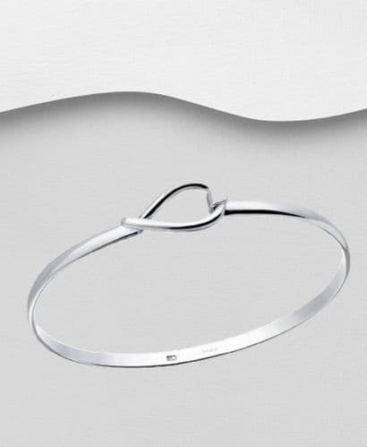 925 Sterling Silver Solid Modern Bangle That Opens