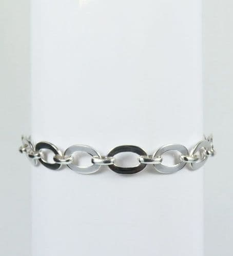 925 Sterling Silver Solid Oval  Shape Bracelet