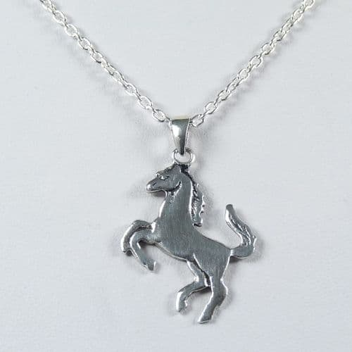 925 Sterling Silver Solid Rearing Horse Pendant & Chain
