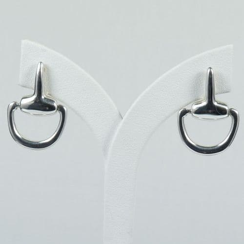 925 Sterling Silver Solid  Snaffle Earrings, With Butterfly Backs