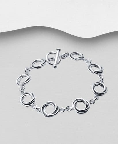 925 Sterling Silver Solid Twisted Round Link Bracelet With T Bar Fastener