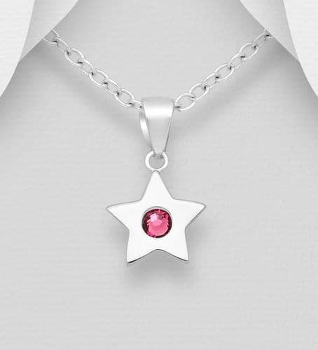925 Sterling Silver Star Pendant & Chain, Set with An Authentic Amethyst Swarovski Crystal