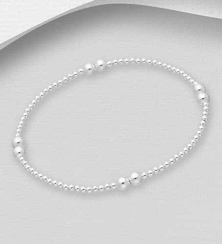 925 Sterling Silver Stretch  Bracelet with Ball Beads 2.5mm