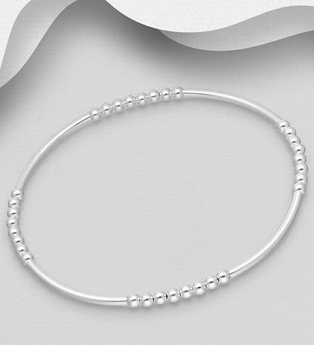 925 - Sterling Silver Stretch Tube Bracelet with Ball Beads (1)