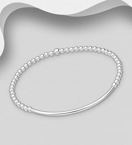 925 Sterling Silver Stretch Tube Bracelet with Ball Beads
