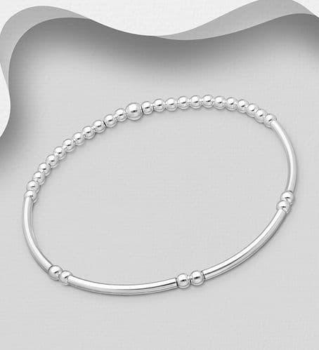 925 - Sterling Silver Stretch Tube Bracelet with Ball Beads