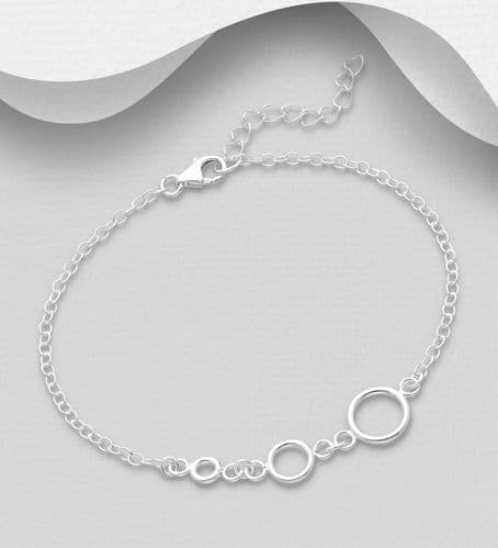 925 Sterling Silver Three Circle Bracelet