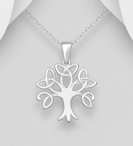 925 Sterling Silver Tree Of Life Celtic Pendant & Chain