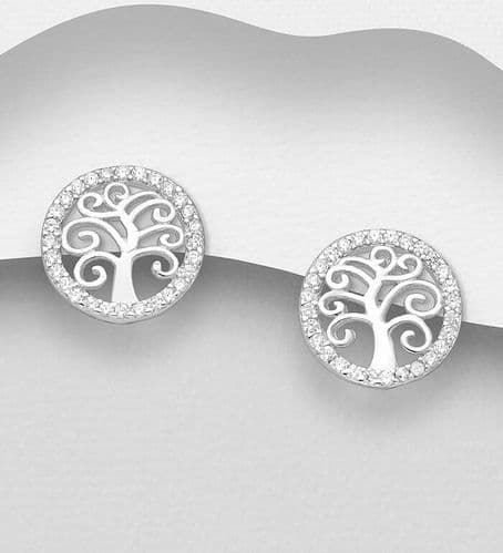 925 Sterling Silver Tree of Life Stud Earrings, Decorated with  CZ Simulated Diamonds